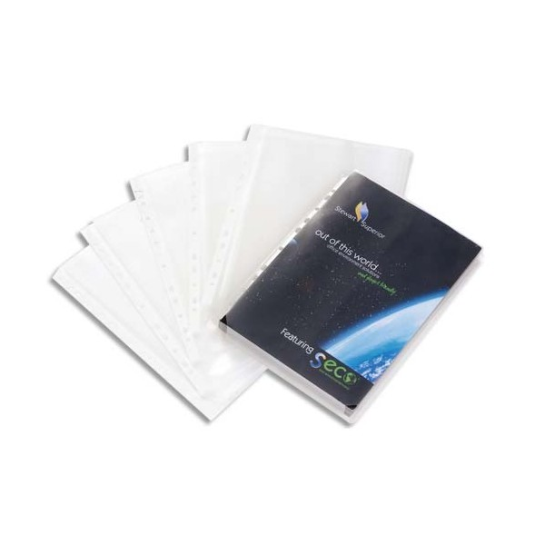 NEUTRE Sachet de 10 pochettes perforées plan en polypropylène lisse 12/100ème sans raba