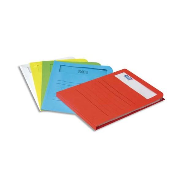ELBA Paquet de 10 pochettes coins ELCO en carte 120g, fenêtre rectangle, coloris assortis