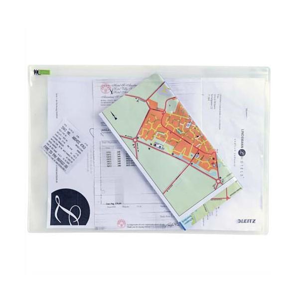 LEITZ Sachet de 2 pochettes enveloppe à zip Traveller PVC 2/10è, format L, coloris trans
