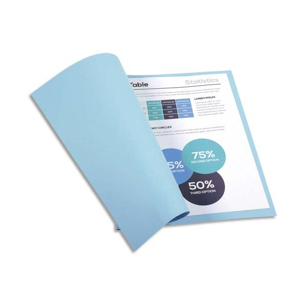 EXACOMPTA Paquet de 100 chemises FOREVER en carte recyclée 220g, coloris bleu clair