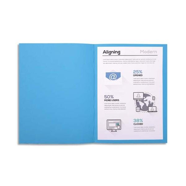 EXACOMPTA Paquet de 100 chemises FOREVER en carte recyclée 220g, coloris bleu foncé