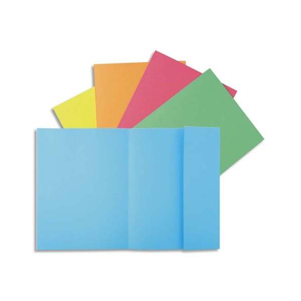 EXACOMPTA Paquet 100 chemises 1 rabat SUPER 180 carte 160g, coloris bleu clair