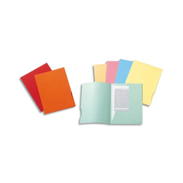 EXACOMPTA Paquet de 50 chemises 2 rabats SUPER 250 en carte 210g, coloris assortis