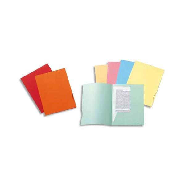 EXACOMPTA Paquet de 50 chemises 2 rabats SUPER 250 en carte 210g, coloris rouge