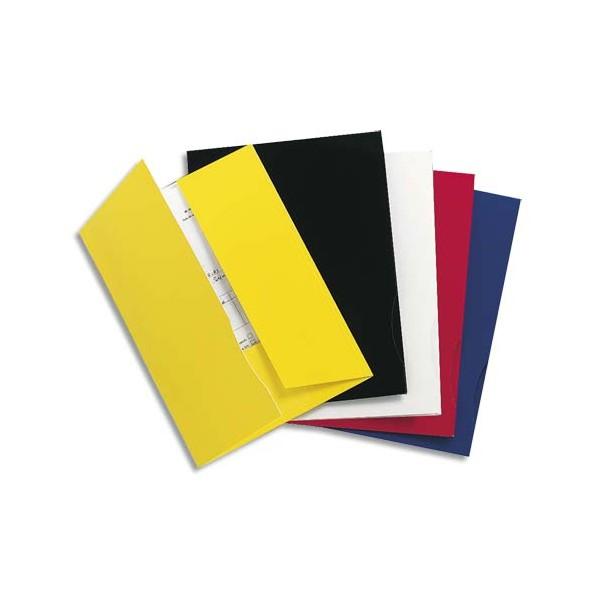 EXACOMPTA Boîte 20 chemises 2 rabats carte 250g CHROMOLUX., coloris bleu aspect brillant