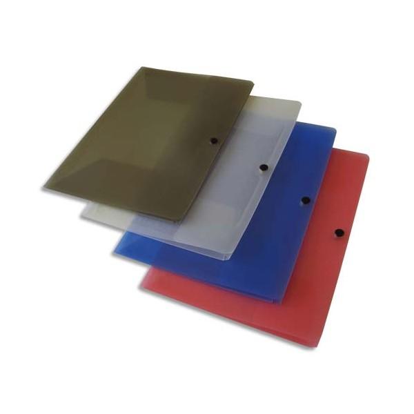 5 ETOILES Chemise 3 rabats en polypropylène 4/10e, format A4 avec fermeture à pression, coloris translucides assortis (photo)
