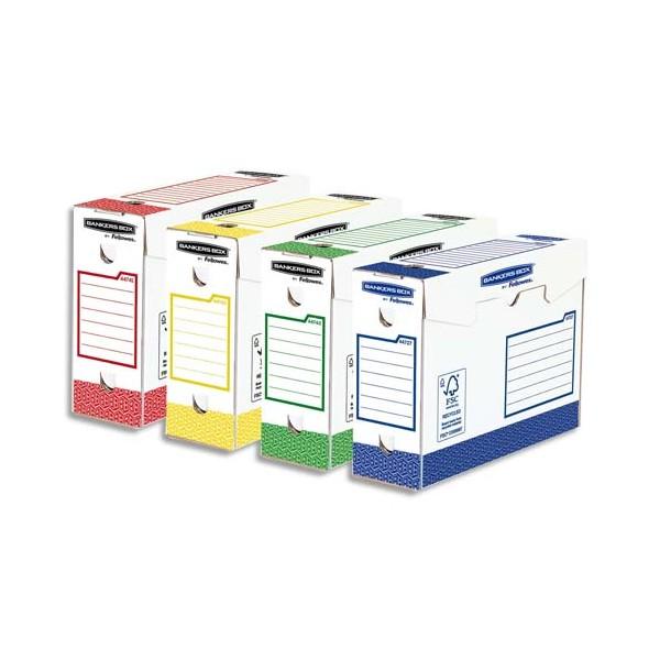 BANKERS BOX Lot 8 boîtes archives dos 10 cm HEAVY DUTY. Montage manuel, coloris assortis (photo)