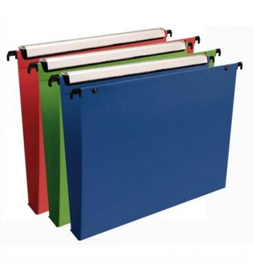 ESSELTE Paquet de 10 dossiers suspendus VMG TIROIR en polypropylène opaque. Fond 30 mm, bouton-pression. Coloris assortis
