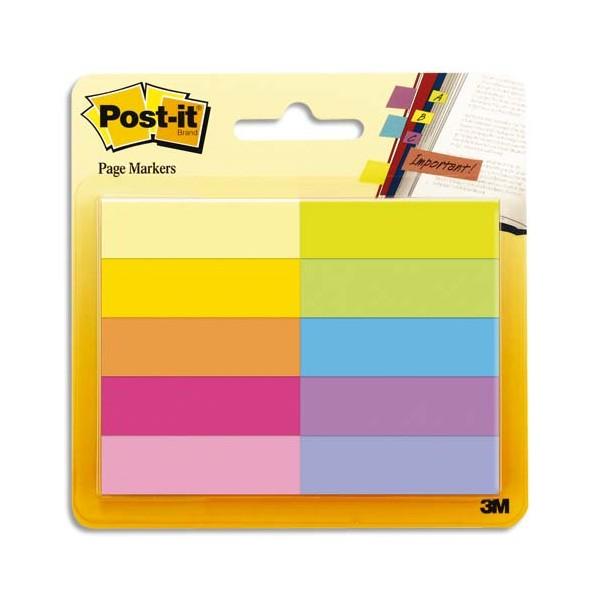 POST-IT 50 Marque-pages Papier Post-it®. 10 couleurs, 12,7 x 44,4 mm