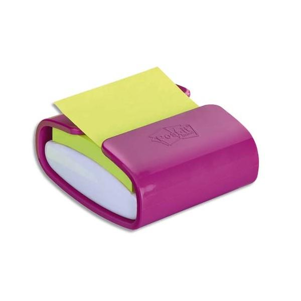 POST IT Dévidoir Z-Notes Super Sticky PRO Fuchsia + 1 bloc vert néon 7,6 x 7,6 cm, 90 feuilles