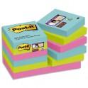 POST-IT Lot de 12 blocs notes Super Sticky Collection MIAMI 47,6 x 47,6 mm, 90 feuilles