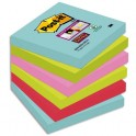 POST-IT Lot de 6 blocs notes Super Sticky Collection MIAMI 7,6 x 7,6 cm, 90 feuilles