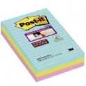 POST-IT Lot de 6 blocs notes Super Sticky Post-it® Grands Formats lignées MIAMI 10,2 x 15,2 cm, 90 feuilles