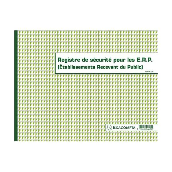 EXACOMPTA Registre de Sécurité pour les ERP format 24 x 32 cm, piqûre 20 pages 6623E