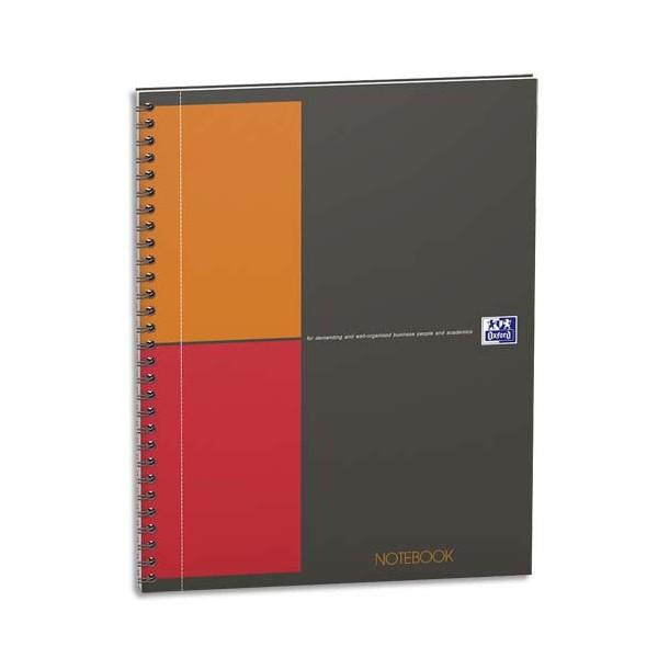 OXFORD Cahier NOTEBOOK Scribzee spirale couverture rigide 160 pages micro-perforées. Réglure 5x5. Format 17,6 x 25 cm