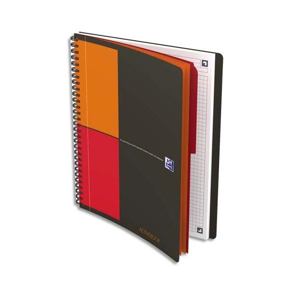 OXFORD Cahier ACTIVEBOOK InConnect en polypropylène gris spirale 160 pages perforées 80g 5x5 17,6 x 25 cm