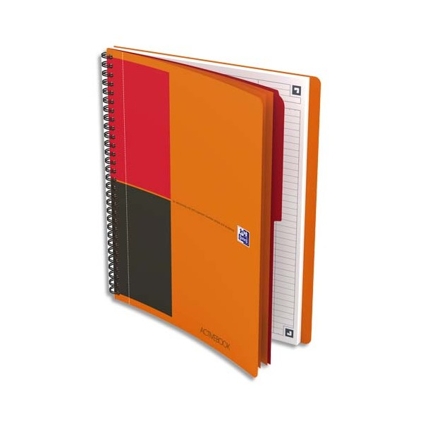 OXFORD Cahier ACTIVEBOOK InConnect en polypropylène orange spirale 160 pages perforées 80g lignées 17,6 x 25 cm