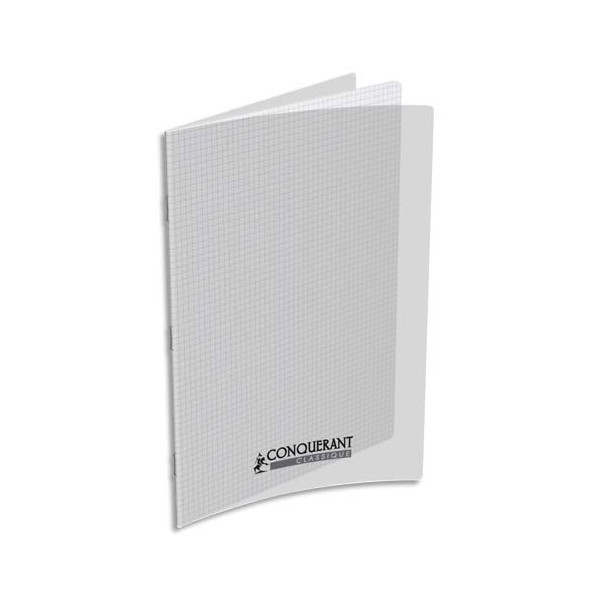 CONQUERANT Cahier A4, 96 pages, 90g, 5x5, couverture polypro incolore