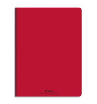 NEUTRE Cahier piqûre 32 pages (idéal pour les maternelles) Seyès 17 x 22 cm. Couverture polypro rouge