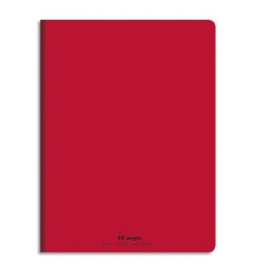 CONQUERANT Cahier piqûre 17x22cm 32 pages 90g, Séyès. Couverture polypropylène Rouge