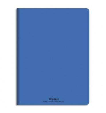 NEUTRE Cahier piqûre 32 pages (idéal pour les maternelles) Seyès 17 x 22 cm. Couverture polypro bleu
