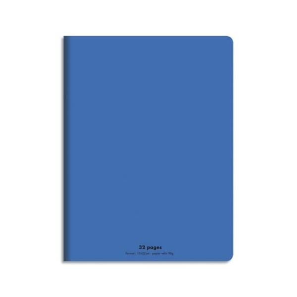 CONQUERANT C9 Cahier piqûre 17x22cm 32 pages 90g, Séyès. Couverture polypropylène Bleu