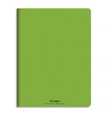 NEUTRE Cahier piqûre 32 pages (idéal pour les maternelles) Seyès 17 x 22 cm. Couverture polypro vert