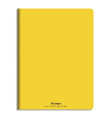 CONQUERANT Cahier piqûre 17x22cm 32 pages 90g, Séyès. Couverture polypropylène Jaune