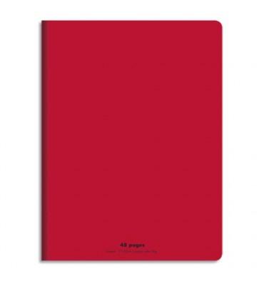 NEUTRE Cahier piqûre 48 pages (idéal pour les maternelles) Seyès 17 x 22 cm. Couverture polypro rouge