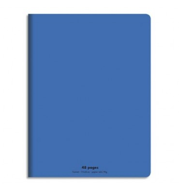 CONQUERANT Cahier piqûre 17x22cm 48 pages 90g, Séyès. Couverture polypropylène Bleu