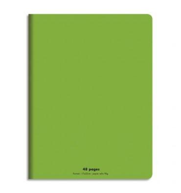 NEUTRE Cahier piqûre 48 pages (idéal pour les maternelles) Seyès 17 x 22 cm. Couverture polypro vert