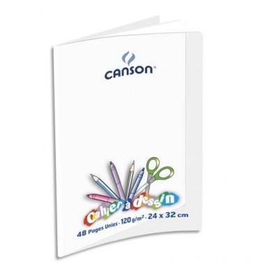 CANSON Cahier de dessin C9 120g, 24 x 32 cm, 48 pages unies, couverture polypropylène incolore