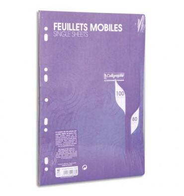 CALLIGRAPHE 100 feuilles mobiles bleues perforées 2 trous 80g grands carreaux format A4