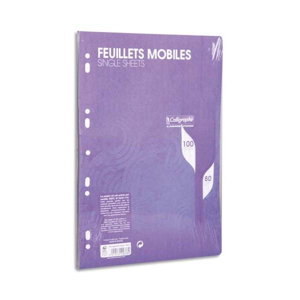 CALLIGRAPHE 100 feuilles mobiles bleues perforées 9 trous 80g grands carreaux format A4