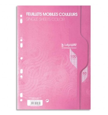 CALLIGRAPHE 100 feuilles mobiles roses perforées 2 trous 80g grands carreaux format A4