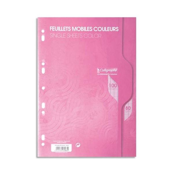 CALLIGRAPHE 100 feuilles mobiles roses perforées 9 trous 80g grands carreaux format A4