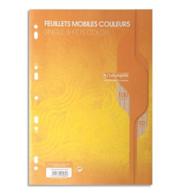 CALLIGRAPHE 100 feuilles mobiles jaune perforées 2 trous 80g grands carreaux format A4