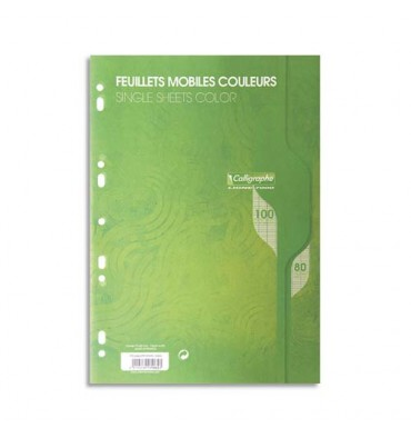CALLIGRAPHE 100 feuilles mobiles vertes perforées 9 trous 80g grands carreaux format A4