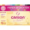 CANSON Pochette 12 feuilles papier CREATION 150g 21 x 29,7 cm. Assortiment de couleurs vives