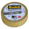 SCOTCH Ruban Expressions Glitter Tape Pailleté Doré de 15 mm x 5 m