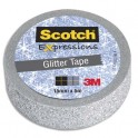SCOTCH Ruban Expressions Glitter Tape Pailleté Argenté de 15 mm x 5 m