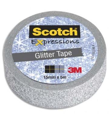 SCOTCH Ruban Expressions Glitter Tape Pailleté Argenté de 15 mm x 5 m