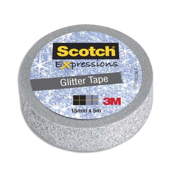 SCOTCH Ruban Expressions Glitter Tape Pailleté Argenté de 15 mm x 5 m (photo)