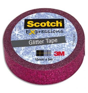SCOTCH Ruban Expressions Glitter Tape Pailleté Rose de 15 mm x 10 m