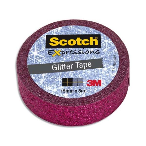 SCOTCH Ruban Expressions Glitter Tape Pailleté Rose de 15 mm x 5 m