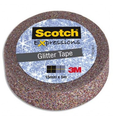 SCOTCH Ruban Expressions Glitter Tape Pailleté Multicolore de 15 mm x 5 m