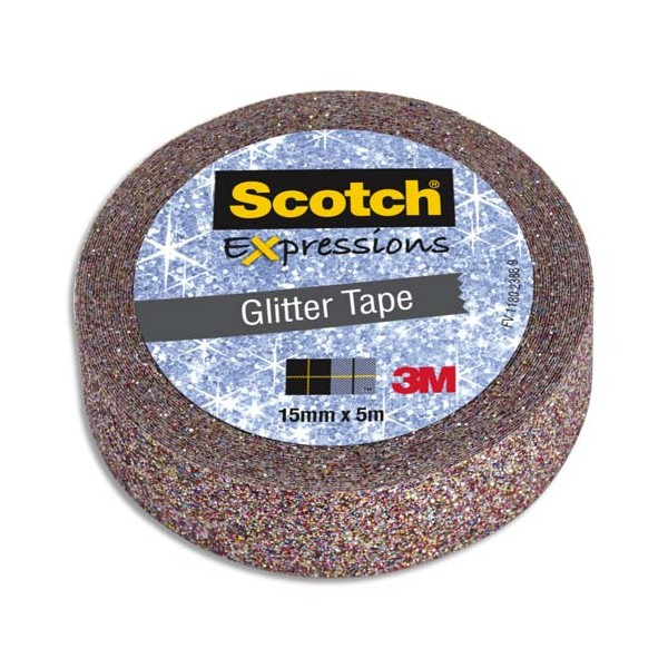 SCOTCH Ruban Expressions Glitter Tape Pailleté Multicolore de 15 mm x 5 m (photo)