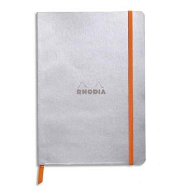 RHODIA Carnet Rhodiarama 14,8 x 21 cm 160 pages lignées. Couverture simili-cuir gris Argent Fermeture élastique