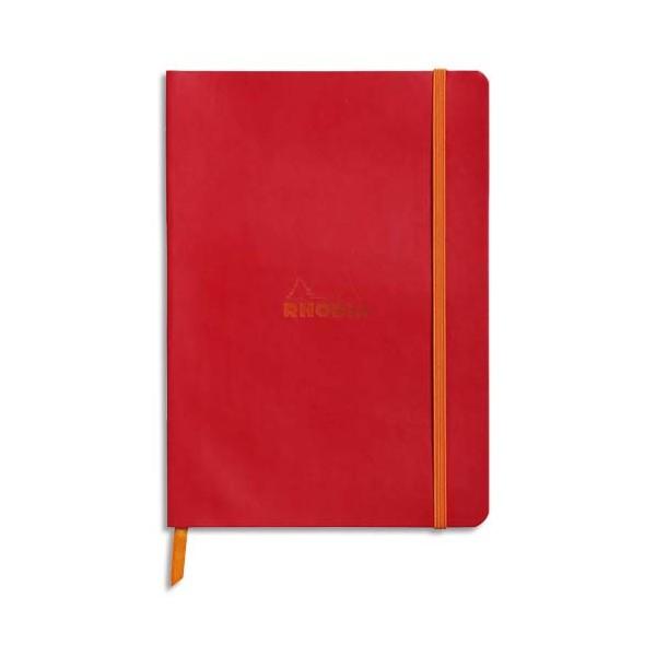 RHODIA Carnet Rhodiarama 14,8 x 21 cm 160 pages lignées. Couverture simili-cuir coquelicot Fermeture élastique