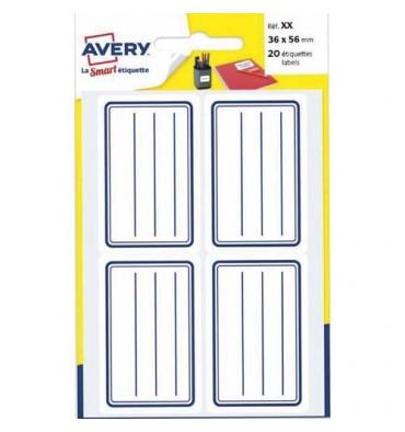 AVERY Pochette de 120 étiquettes cadre bleu avec lignes, 36 x 56 mm